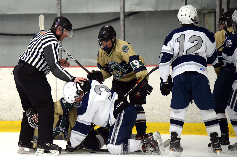 The Manasquan High School Varsity Ice Hockey Team faced off against Freehold High School at the Jersey Shore Arena on 01/16/2019.(STEVE WEXLER/THE COAST STAR).
