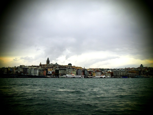 View from the bottom level of the Galata Bridge, Istanbul