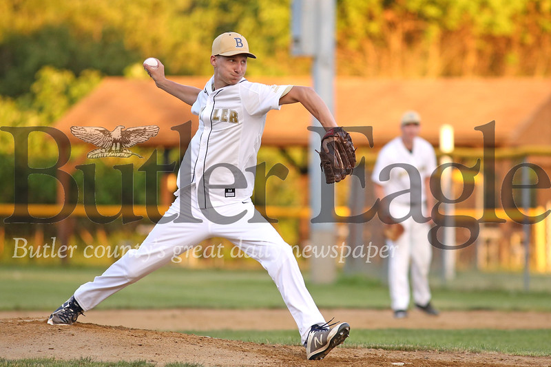 Butler starting pitcher Josh Bonetti winds up to pitch against East Butler Thursday. Seb Foltz/Butler Eagle