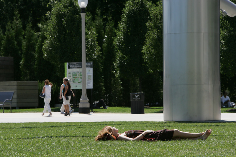 Sunbathing in Millenium Park