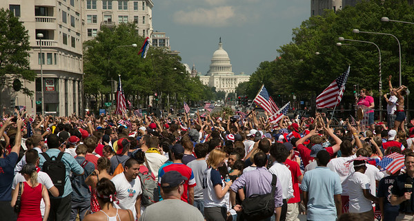 World Cup fans gather in Freedom Plaza for USA vs. Belgium
