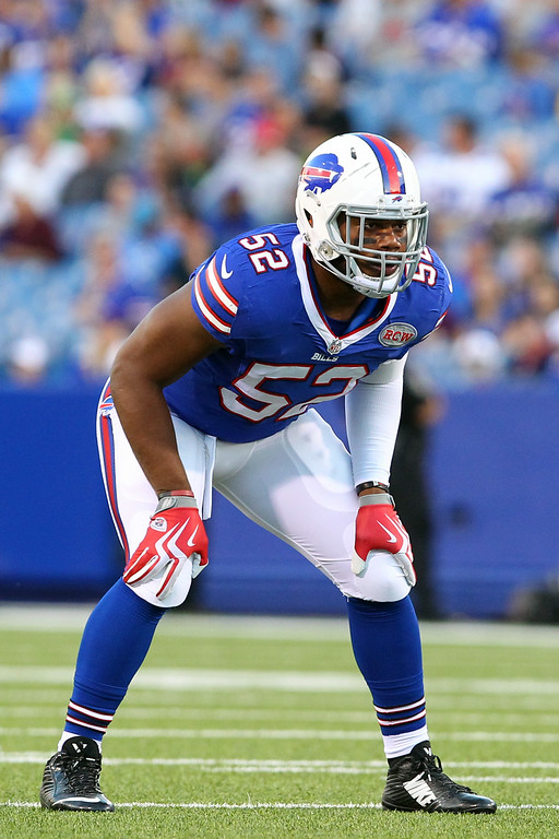. Buffalo Bills inside linebacker Preston Brown lines up against the Detroit Lions during the first half of a preseason NFL football game, Thursday, Aug. 28, 2014, in Orchard Park, N.Y. (AP Photo/Bill Wippert)