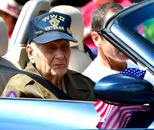 5/25/2019 Mike Orazzi | Staff Edward Skehan, a WWII combat engineer and Army veteran, during the annual Newington Memorial Day parade on Saturday.