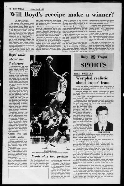 Daily Trojan, Vol. 61, No. 55, December 05, 1969