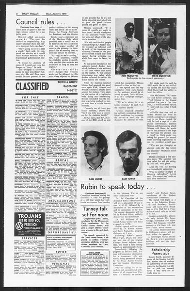 Daily Trojan, Vol. 61, No. 106, April 15, 1970