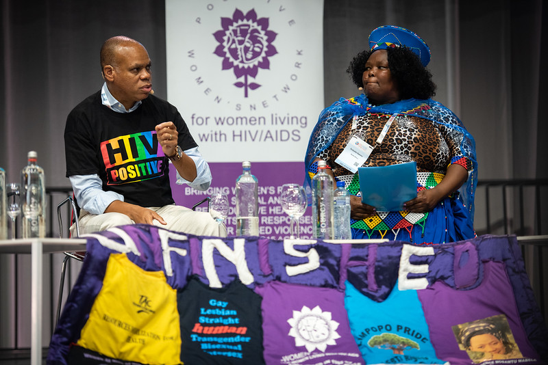 22nd International AIDS Conference (AIDS 2018) Amsterdam, Netherlands.   Copyright: Steve Forrest/Workers' Photos/ IAS  Photo shows: Special Session: The legacy of Prudence Mabele: Championing gender justice and health equity. From Left to Right: Patrick Gaspard, Open Society Foundations, United States; Prudence Mabele Prize winner Duduzile (Dudu) Dlamini.