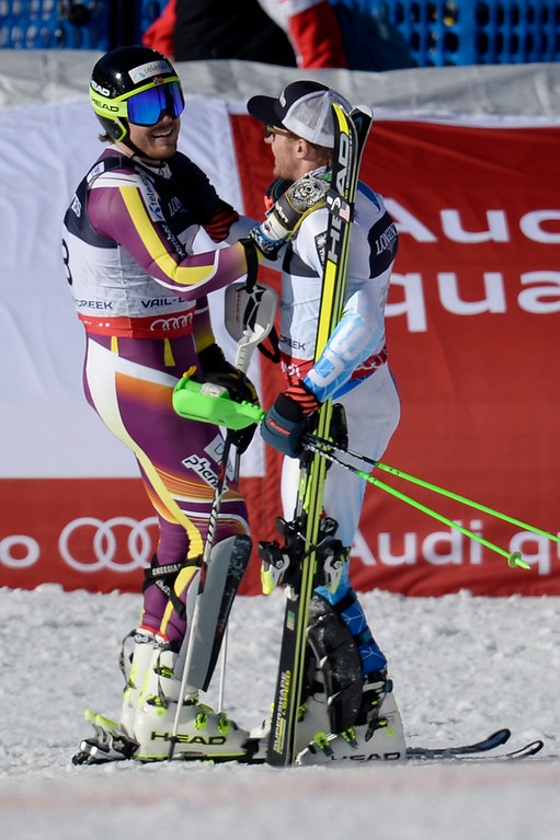 . BEAVER CREEK, CO - FEBRUARY 08: USA skier Ted Ligety congratulates Kjetil Jansrud of Norway for his second place finish during the men\'s alpine combined final. FIS Alpine World Ski Championships 2015 on Sunday, February 8, 2015. (Photo by AAron Ontiveroz/The Denver Post)