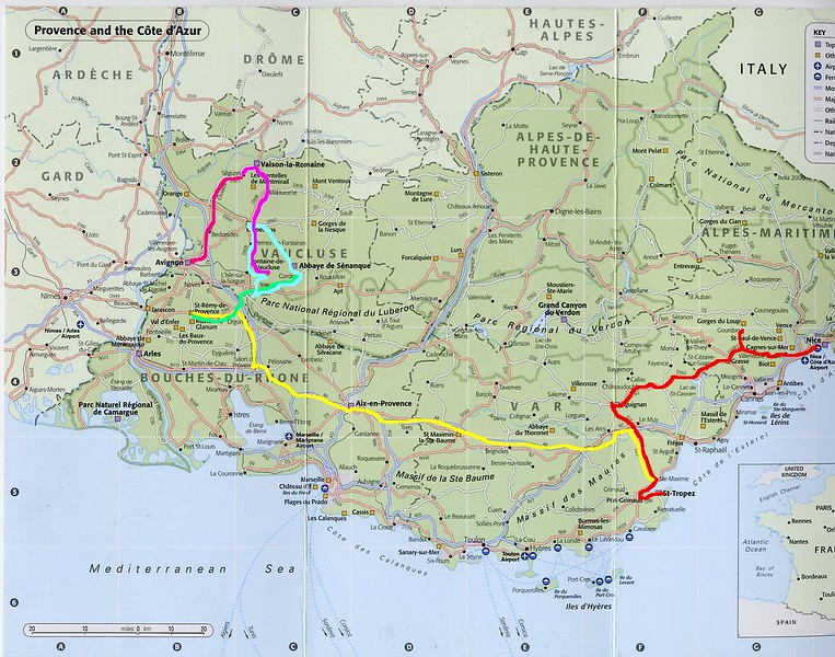 Provence Map with routes.JPG