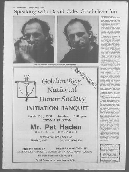 Daily Trojan, Vol. 106, No. 34, March 01, 1988