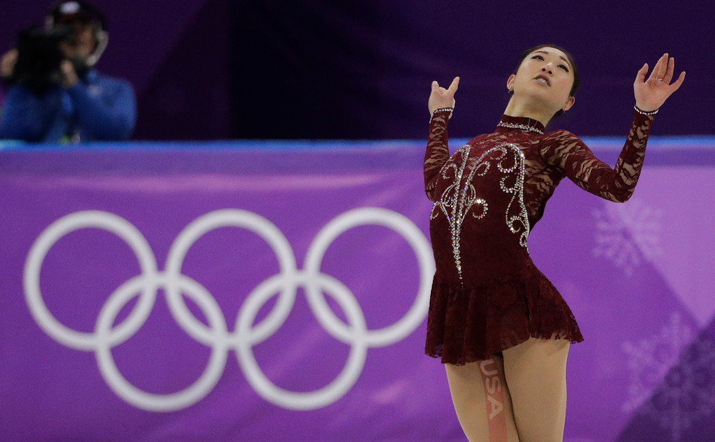 . Mirai Nagasu of the United States performs during the women\'s short program figure skating in the Gangneung Ice Arena at the 2018 Winter Olympics in Gangneung, South Korea, Wednesday, Feb. 21, 2018. (AP Photo/David J. Phillip)