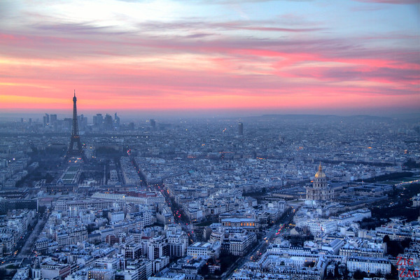 Sunset view Paris from Montparnasse Tower 2