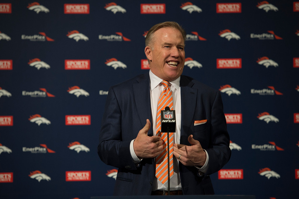 . Denver Broncos John Elway, General Manager and Executive Vice President of Football Operations answers questions during the a press conference introducing Gary Kubiak as the new head coach January 20, 2015 at Dove Valley. Kubiak becomes the 15th head coach in franchise history. (Photo By John Leyba/The Denver Post)