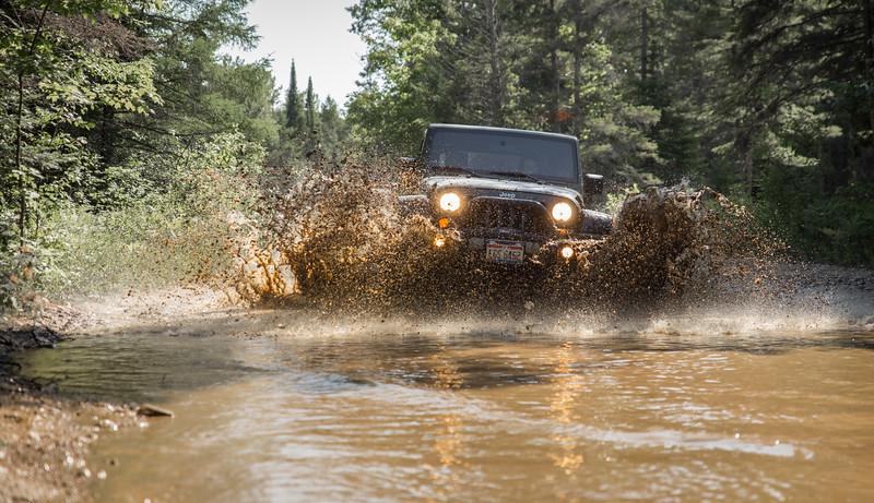 Bri splashing around in our Jeep.