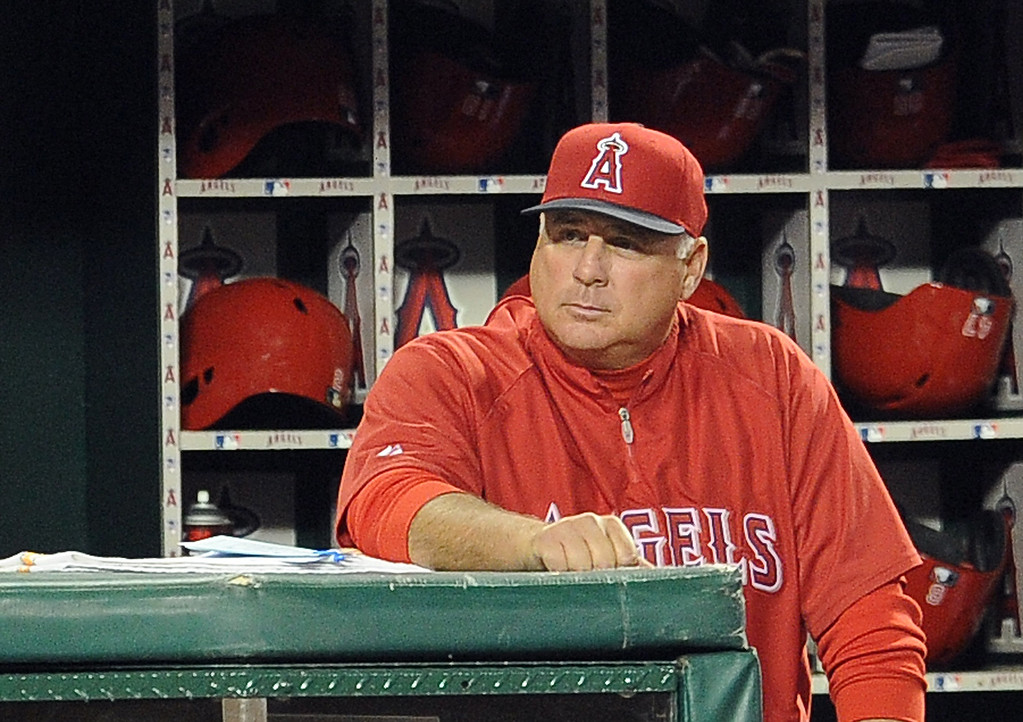 . Los Angeles Angels manager Mike Scioscia in the seventh inning of a spring baseball game against the Los Angeles Dodgers on Thursday, March 28, 2012 in Anaheim, Calif.   (Keith Birmingham/Pasadena Star-News)