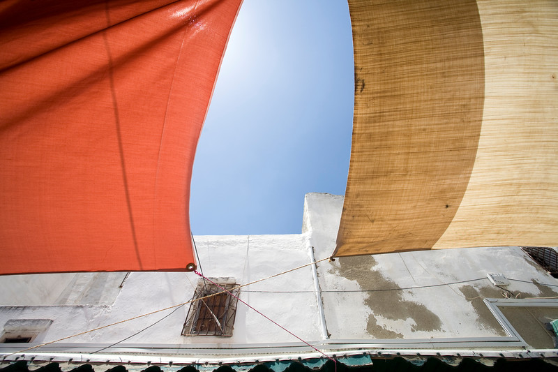 Fabric canopies for shadow, Tetouan medina, Morocco