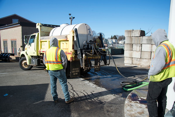 01/17/20 Wesley Bunnell | StaffrrPublic works employees fill a spray truck on Friday January 17, 2020 with a pre treat mixture to spray on city streets in anticipation of Saturday's snow storm.