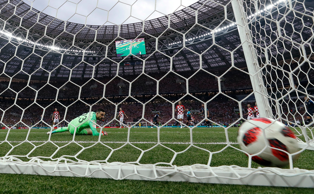 . Croatia goalkeeper Danijel Subasic looks to the ball after France\'s Kylian Mbappe scored his side\'s fourth goal during the final match between France and Croatia at the 2018 soccer World Cup in the Luzhniki Stadium in Moscow, Russia, Sunday, July 15, 2018. (AP Photo/Martin Meissner)