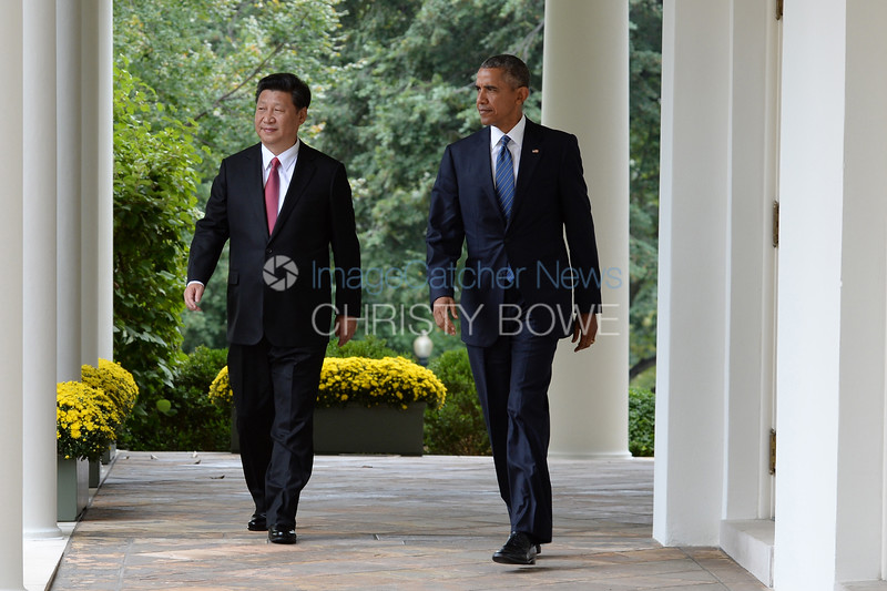 President Barack Obama welcomes President Xi  of China to the White House  during an official State Visit on the South Lawn.The two leaders leave the Oval Office for a joint press conference in the Rose Garden.