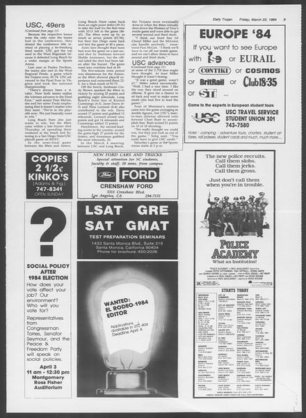 Daily Trojan, Vol. 95, No. 52, March 23, 1984