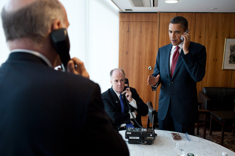 . President Barack Obama phone call briefing on Libya at Palacio Do Planalto in Brasilia, Brazil, March 19, 2011. Attending the briefing are: National Security Advisor Tom Donilon; Chief os Staff Bill Daley, and Ben Rhodes, Deputy National Security Advisor for Strategic Communication. (Official White House Photo by Pete Souza)