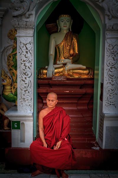 Meditation at the Shwedagon (Golden) Pagoda