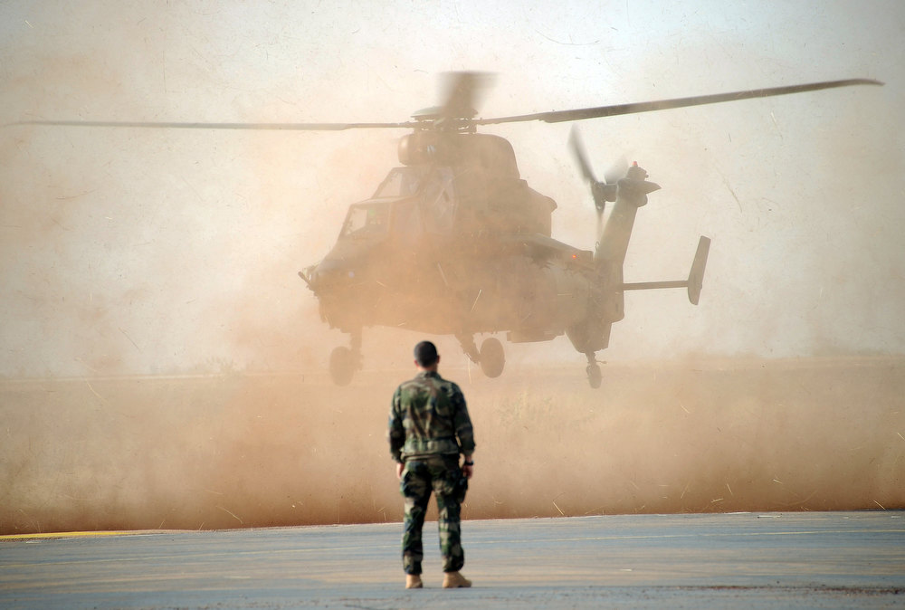 Description of . A Tiger helicopter lands at the Mopti airport, in Sevare, on February 2, 2013. President Francois Hollande visits Mali today as French-led troops work to secure the last Islamist stronghold in the north after a lightning offensive against the extremists. PASCAL GUYOT/AFP/Getty Images