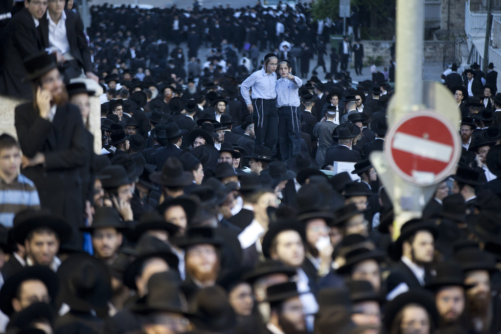 . JERUSALEM, ISRAEL - MAY 16:  Ultra-Orthodox demonstrators pack the streets on May 16, 2013 in Jerusalem, Israel. Tens of Thousands of ultra-Orthodox Israelis have clashed with police after gathering to protest against newly proposed government legislation that would see them drafted into the military. (Photo by Uriel Sinai/Getty Images)