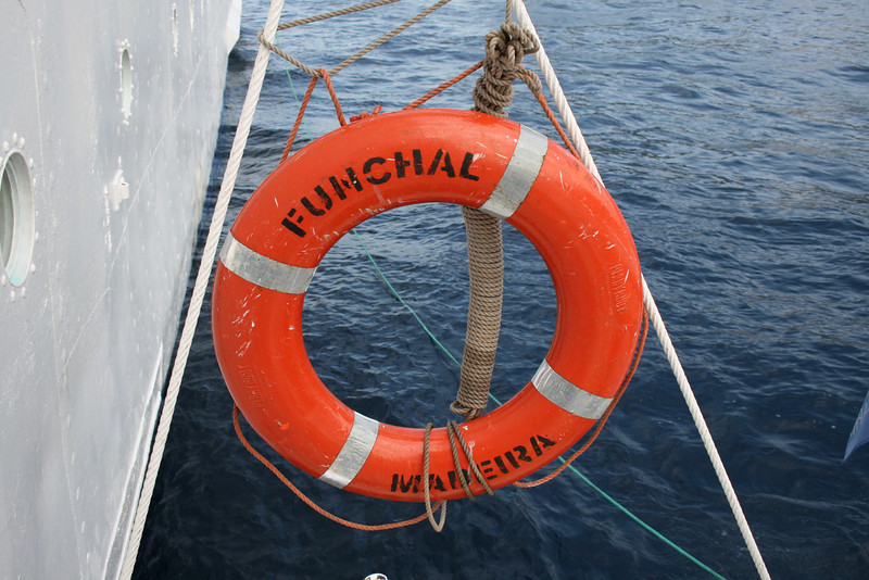 On board T/S FUNCHAL : lifebelt.
