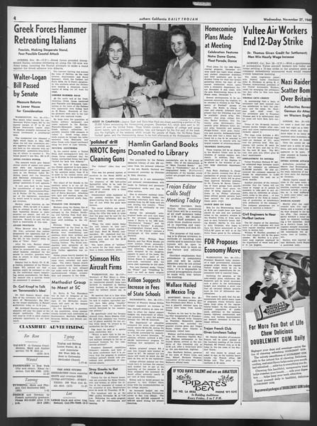 Daily Trojan, Vol. 32, No. 50, November 27, 1940