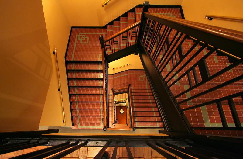 Staircase inside the Wichita Sedgwick County Historical Museum, Wichita, Kansas.