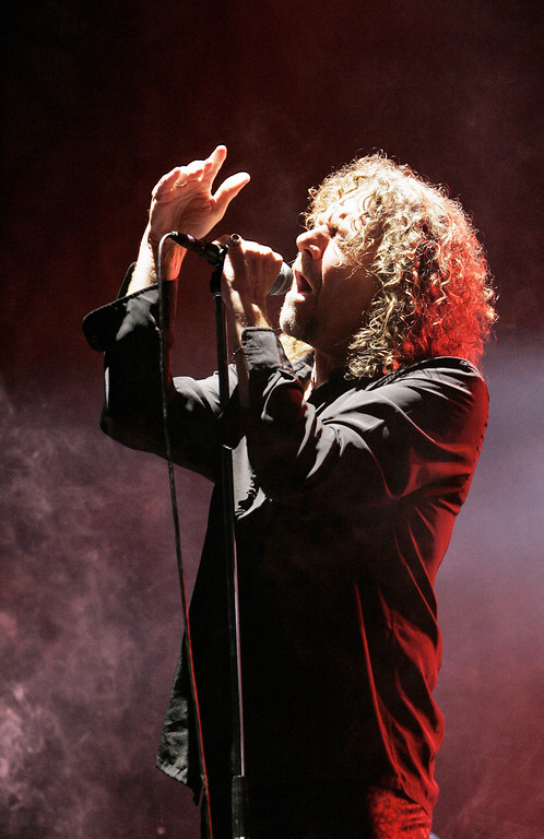 . Saint-Cloud, FRANCE:  British singer Robert Plant performs during the 3rd edition of the Rock-en-Seine Music Festival, in Saint-Cloud near Paris 26 August 2005. BERTRAND GUAY/AFP/Getty Images