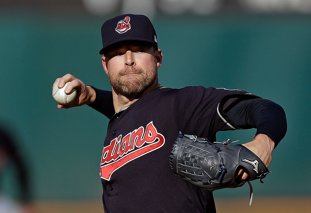 . Cleveland Indians pitcher Corey Kluber works against the Oakland Athletics in the first inning of a baseball game Saturday, July 15, 2017, in Oakland, Calif. (AP Photo/Ben Margot)