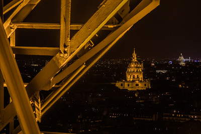 Hôtel national des Invalides at night, seen from stairwell of the Eiffel Tower, Paris, France