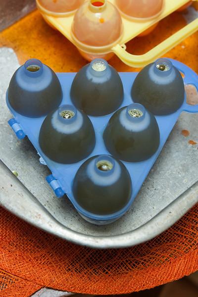 Jello Eggs forming.