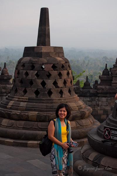 Veny at Borobudur temple