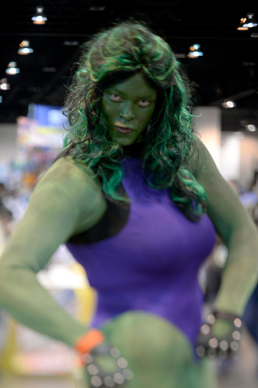 . Jeremy Johnson 37-years-old poses as She Hulk as he attends the Denver Comic Con June 2, 2013 at the Colorado Convention Center. The Convention brought in more than 45,000 for the three day weekend. (Photo By John Leyba/The Denver Post)