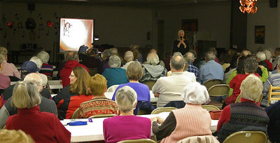 It was a nearly full house for the February meeting.  Many of the attendees are lifetime members of the Spearfish Area Historical Society.  For $50, one can become a lifetime member, thus not having to worry about paying annual dues.  Lifetime status also entitles each such member to a personalized name tag and a courtesy reminder prior to each monthly session.