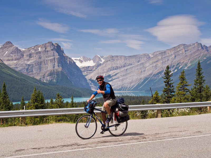 Happy cyclist on Icefield parkway