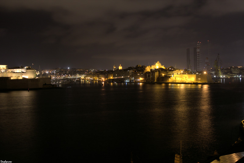 Valletta, Malta.     Night view over Bormla.   03/23/2019