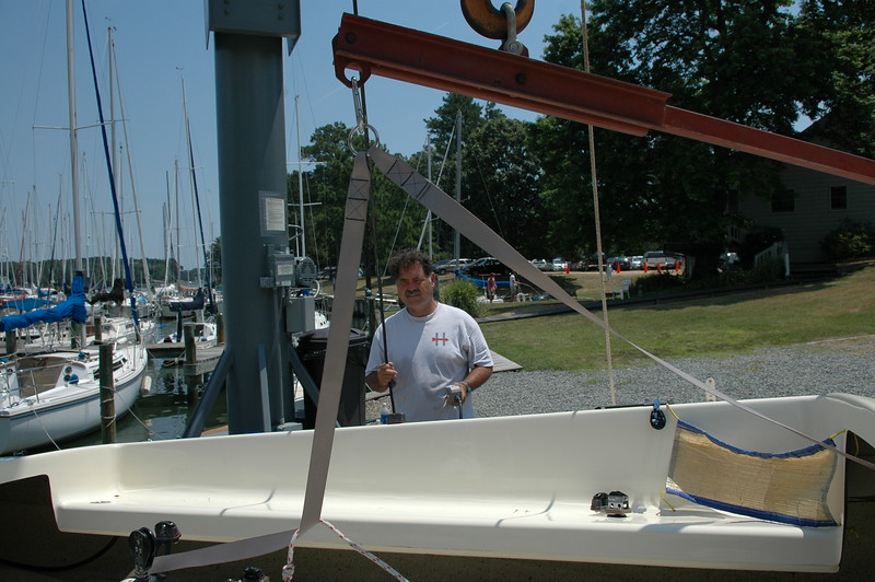 Frank Murphy weighing boats