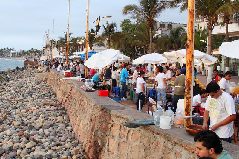 Food vendors on the malecon boardwalk in downtown Puerta Vallarta.