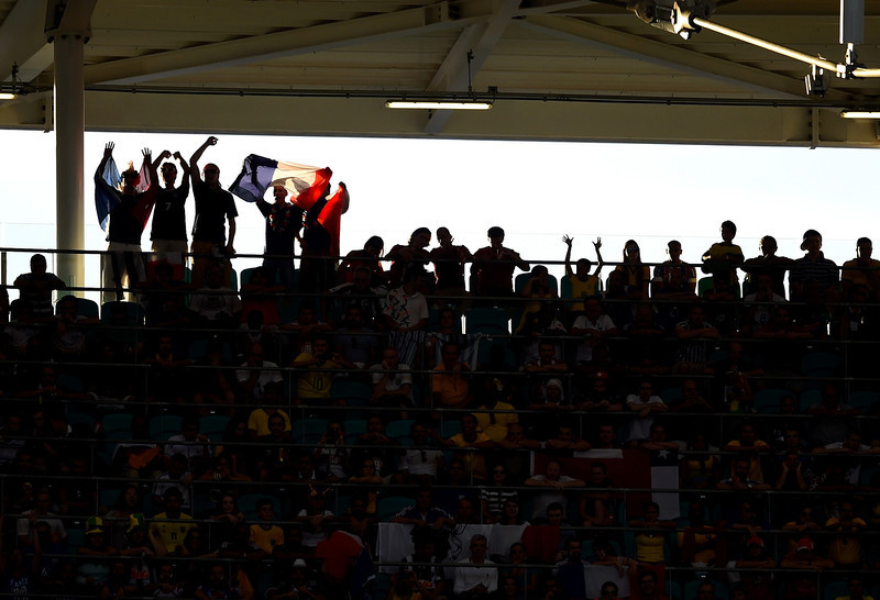 . France fans cheer during the 2014 FIFA World Cup Brazil Group E match between Switzerland and France at Arena Fonte Nova on June 20, 2014 in Salvador, Brazil.  (Photo by Christopher Lee/Getty Images)
