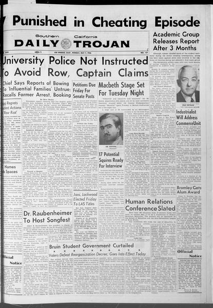 Daily Trojan, Vol. 47, No. 128, May 07, 1956