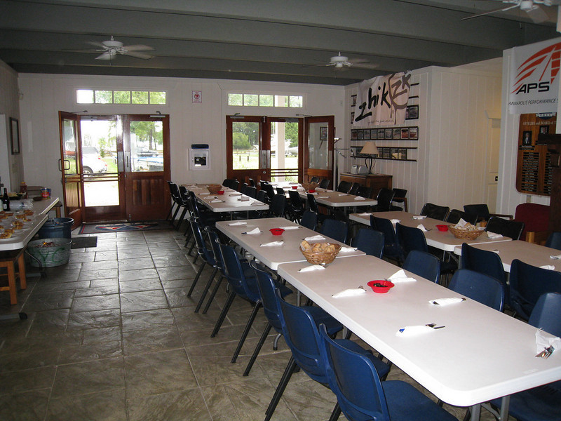 Tables set up for dinner.