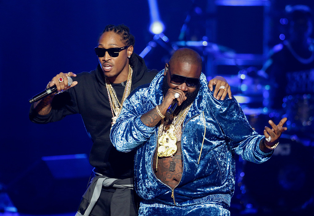 . Rapper Future, left, performs with Rick Ross at the BET Hip Hop Awards, Saturday, Sept. 28, 2013, in Atlanta. (AP Photo/David Goldman)