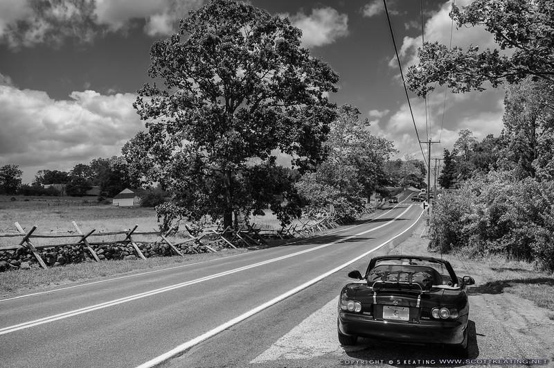 Parked on Taneytown Road in Gettysburg