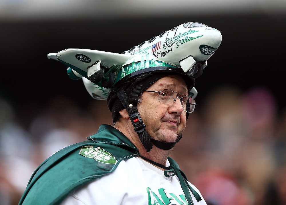 . A New York Jets fan looks on during the first quarter against the Arizona Cardinals on December 2, 2012 at MetLife Stadium in East Rutherford, New Jersey.  (Photo by Elsa/Getty Images)