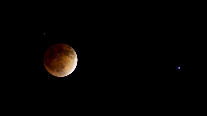 Blood red moon. 2014 lunar eclipse.