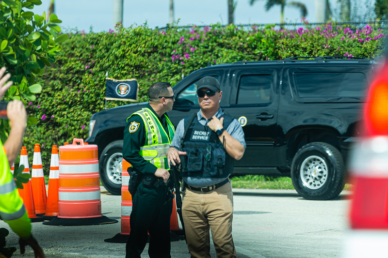 """The """"Beast"""" pulls out of Mar-a-Lago on its way to Palm Beach International Airport on Sunday, February 16, 2020. The President is on his way to Daytona where he will be the Grand Marshall for the Daytona 500. [JOSEPH FORZANO/palmbeachpost.com]"""