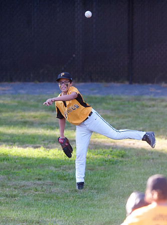 08/23/18 Wesley Bunnell | Staff The Forestville Pirates vs the Edgewood Cubs in the Bristol Little League City Series on Thursday evening at Frazier Field. Pirates center fielder Kaden Paghense (3).